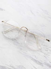 Transparent Frame Metal Top Bar Glasses