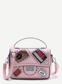 Patch And Studded Decorated PU Shoulder Bag