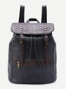 Double Buckle Zipper Front PU Backpack