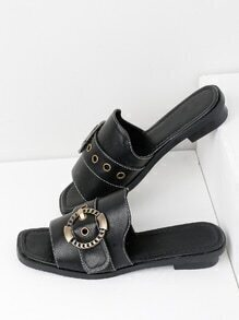 Eyelet Design Metal Buckle Sandals
