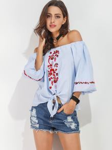 Bardot Embroidered Knot Front Top