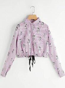 Pinstripe Cat Print Tie Front Blouse