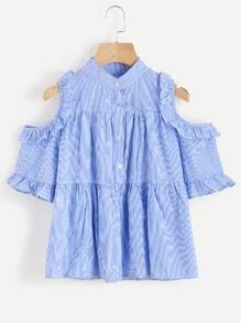 Open Shoulder Pinstripe Frill Trim Top