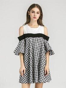Open Shoulder Contrast Gingham Bell Sleeve Dress