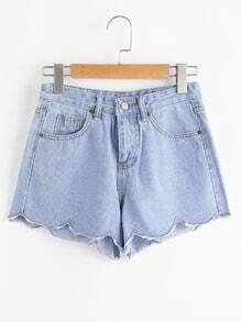 Shorts en denim de cheurón