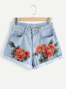 Shorts en denim de doblez aplique de flor