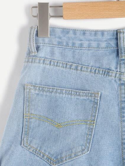 Appliques Rolled Hem Denim Shorts