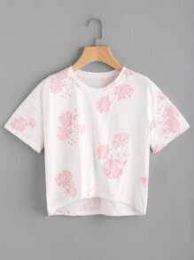 Camiseta Jacquard bordada de rosa