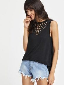 Laser Cut Out Dip Hem Tank Top