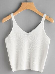 V Neckline Knitted Cami Top