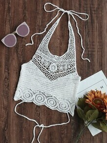 Hollow Out Crochet Tie Detail Crop Halter Top