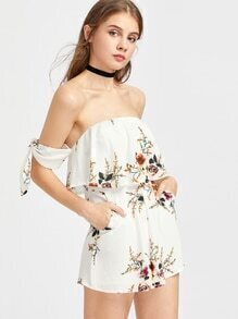 Flounce Layered Neckline Tie Sleeve Floral Playsuit