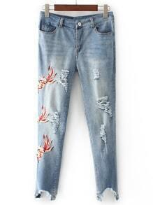 Ripped Detail Raw Hem Skinny Jeans