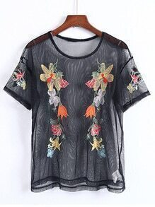 Flower Embroidery Mesh Top