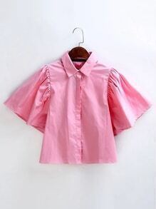 Hidden Button Tie Back Cute Blouse