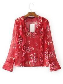 Bell Sleeve Floral Ruffle Trim Blouse