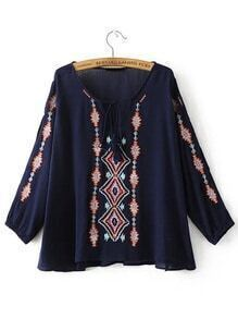 Navy Embroidered Tassel Tie V Neck Blouse