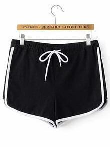 Shorts cintura con cordón con ribete en contraste - negro