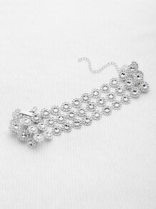Rhinestone Detail Flower Layered Choker