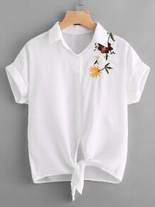 Embroidered Self Tie Front Blouse
