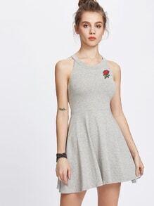 Halter Neck Rose Patch A Line Dress