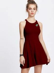 Halter Neck Cactus Patch A Line Dress