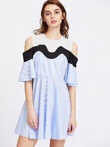 Open Shoulder Fluted Sleeve Contrast Pinstriped Dress