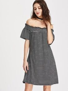 Off Shoulder Shirred Striped Dress