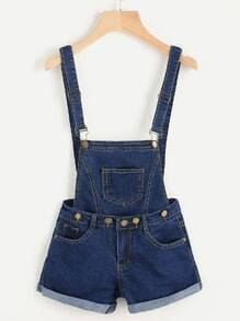 Pocket Front Cuffed Chambray Pinafore Playsuit