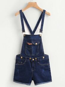 Criss Cross Back Cuffed Denim Dungaree Shorts
