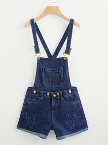 Pocket Front Cuffed Chambray Dungaree Shorts