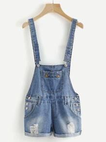 Distressed Pocket Front Denim Dungaree Shorts