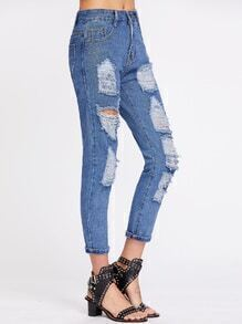 Destroyed Cuffed Ankle Jeans