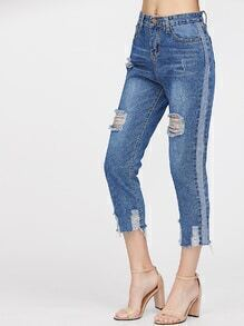 Distressed Side Paneled Fray Hem Crop Jeans