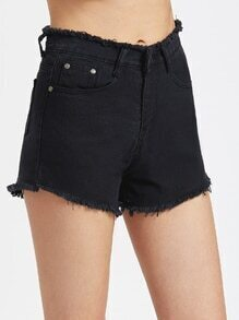 Fray Trim Chambray Shorts
