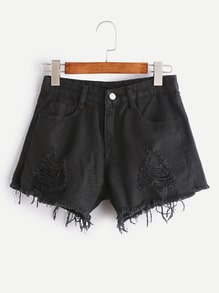 Distressed Fray Hem Chambray Shorts