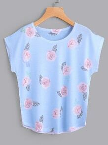 Dolman Sleeve Rose Print Tee