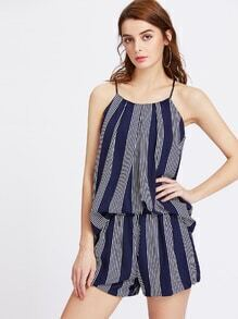 Vertical Striped Cami Top With Shorts
