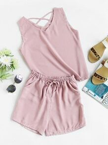Criss Cross Back Tank Top And Shorts Set