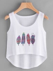 Feather Print Tee Dip Hem Tank Top