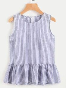 Striped Frill Hem Zip Back Top
