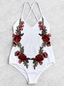 Flower Patch Cross Strap Swimsuit