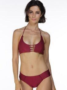 Sets de bikini de espalda con tiras con abertura delantera