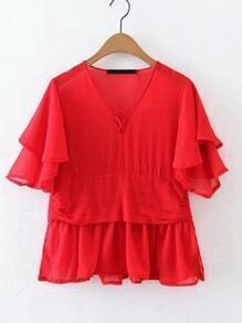 Criss Cross Front Layered Ruffle Top