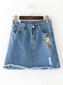 Raw Hem A Line Denim Skirt