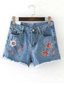 Raw Hem Loose Denim Shorts