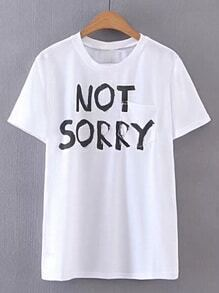 Camiseta estampada de lema con bolsillo