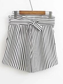 Contrast Striped Shorts With Self Tie