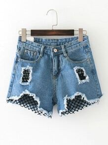 Contrast Mesh Ripped Detail Denim Shorts