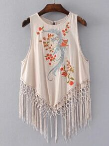 Fringe Hem Tie Back Sleeveless Tee